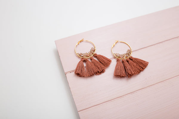 Crystal Spice Tassel Earrings