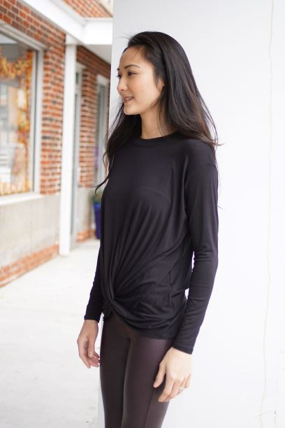 Black Crewneck Bottom Knot Blouse