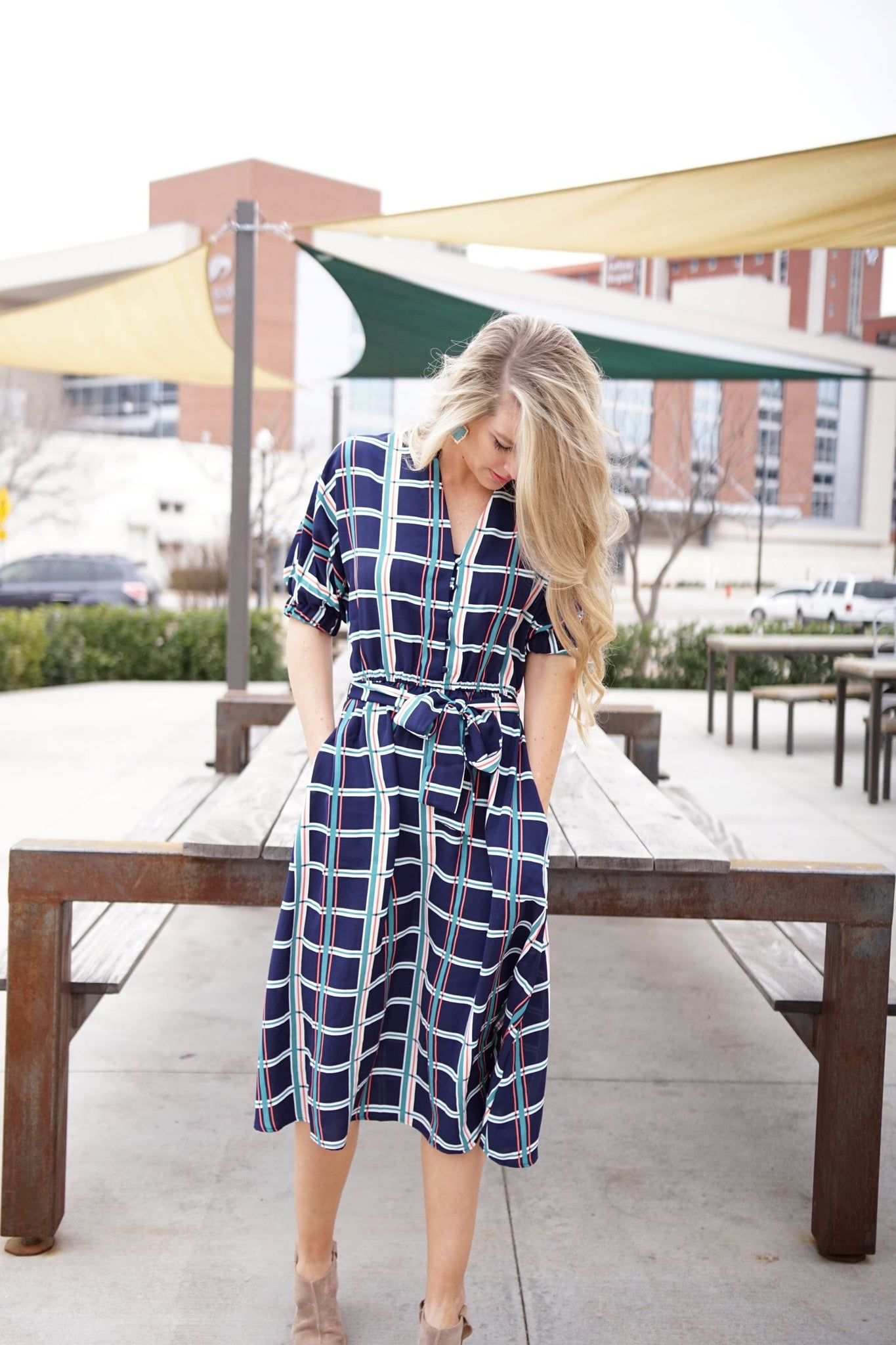 Abeline Plaid Midi Dress with Tie