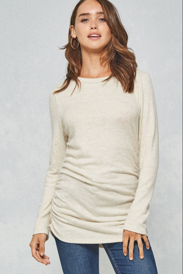 Super Soft Side Ruching Knit Top