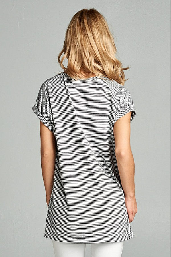 Grey Stripe Rollsleeve Knit Tee
