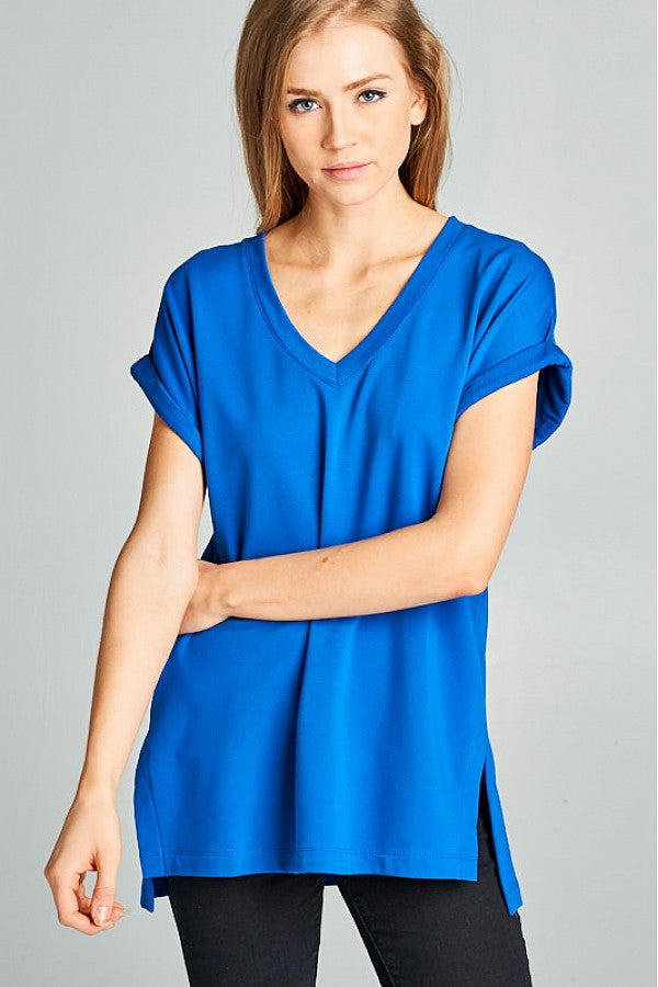 V Neck Cuffed Sleeve Tee