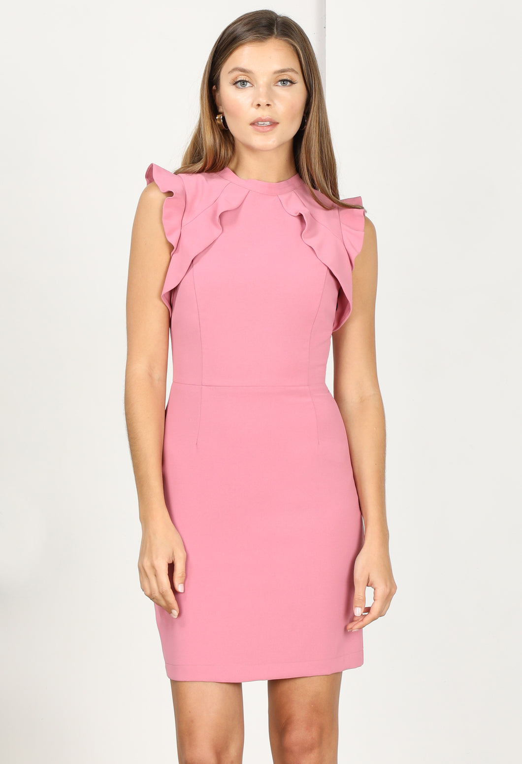 Rosetta Ruffle Woven Sheath Dress