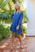 Load image into Gallery viewer, V-neck Tier Chambray Dress