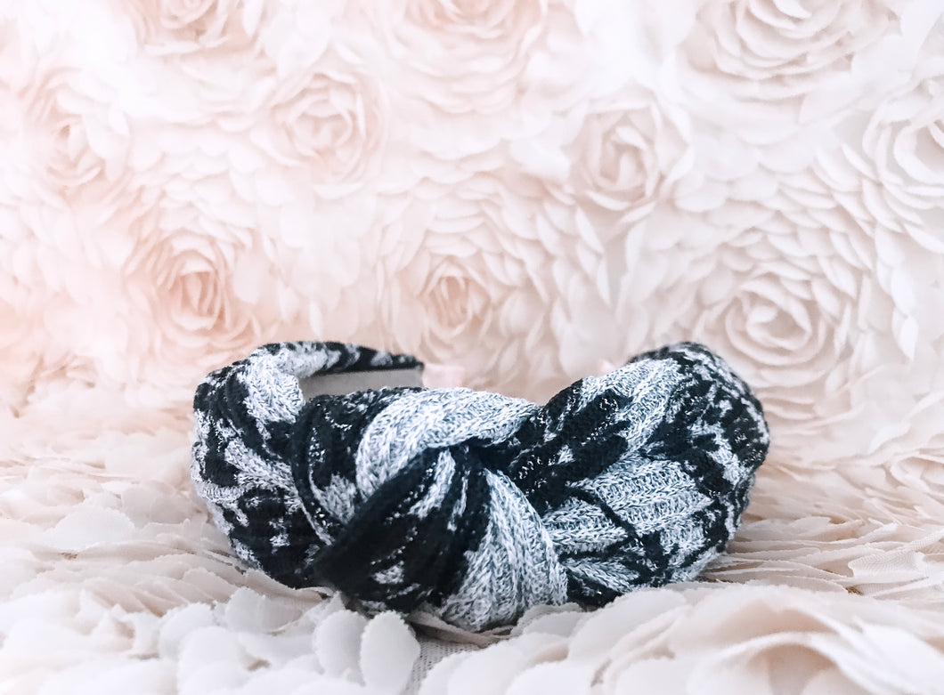 Grey & Black Floral Knit Knotted Headband