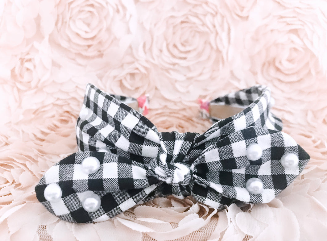 Gingham Bow Tie Headband with Pearl Detail