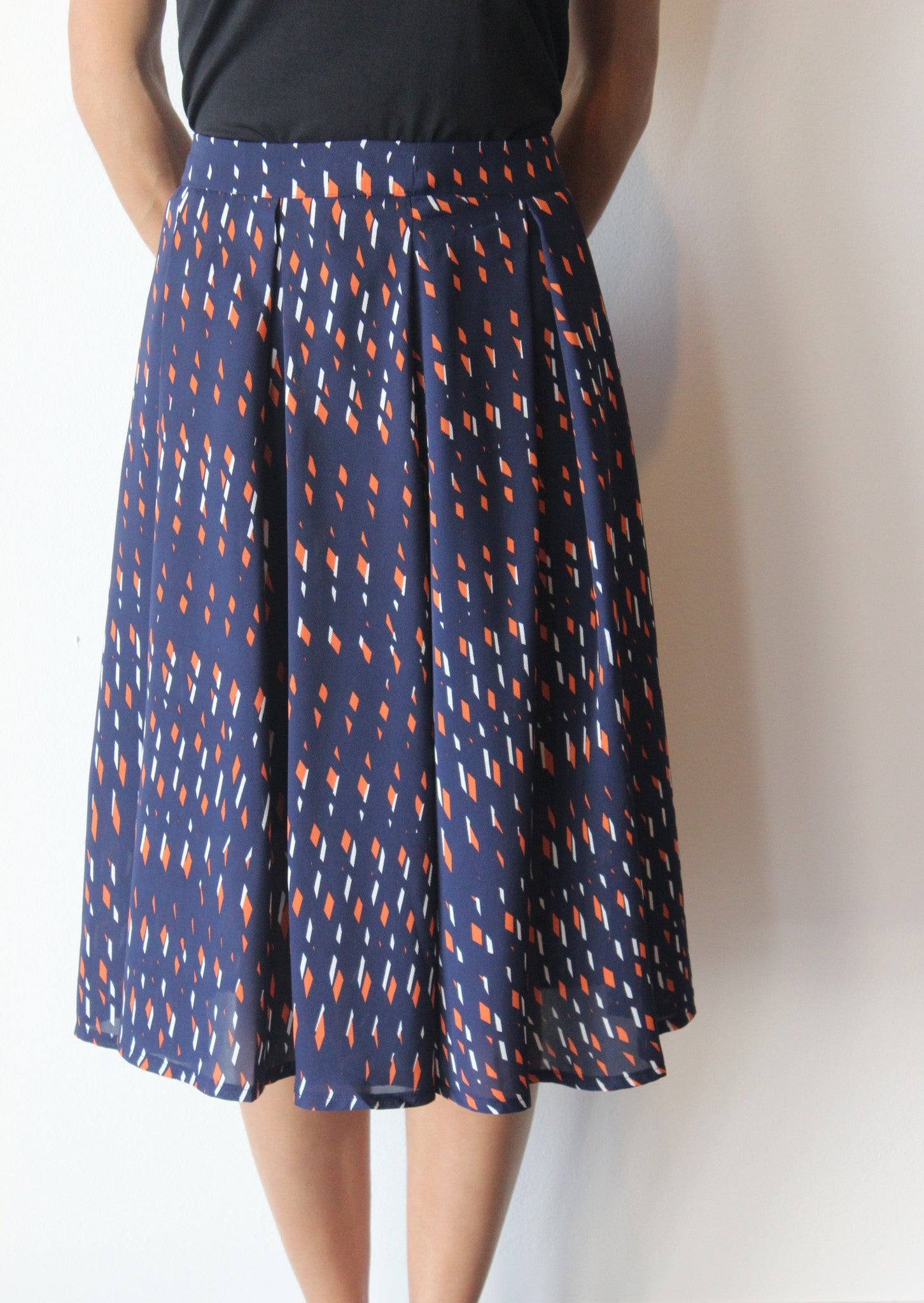 Diamond Print Midi Skirt