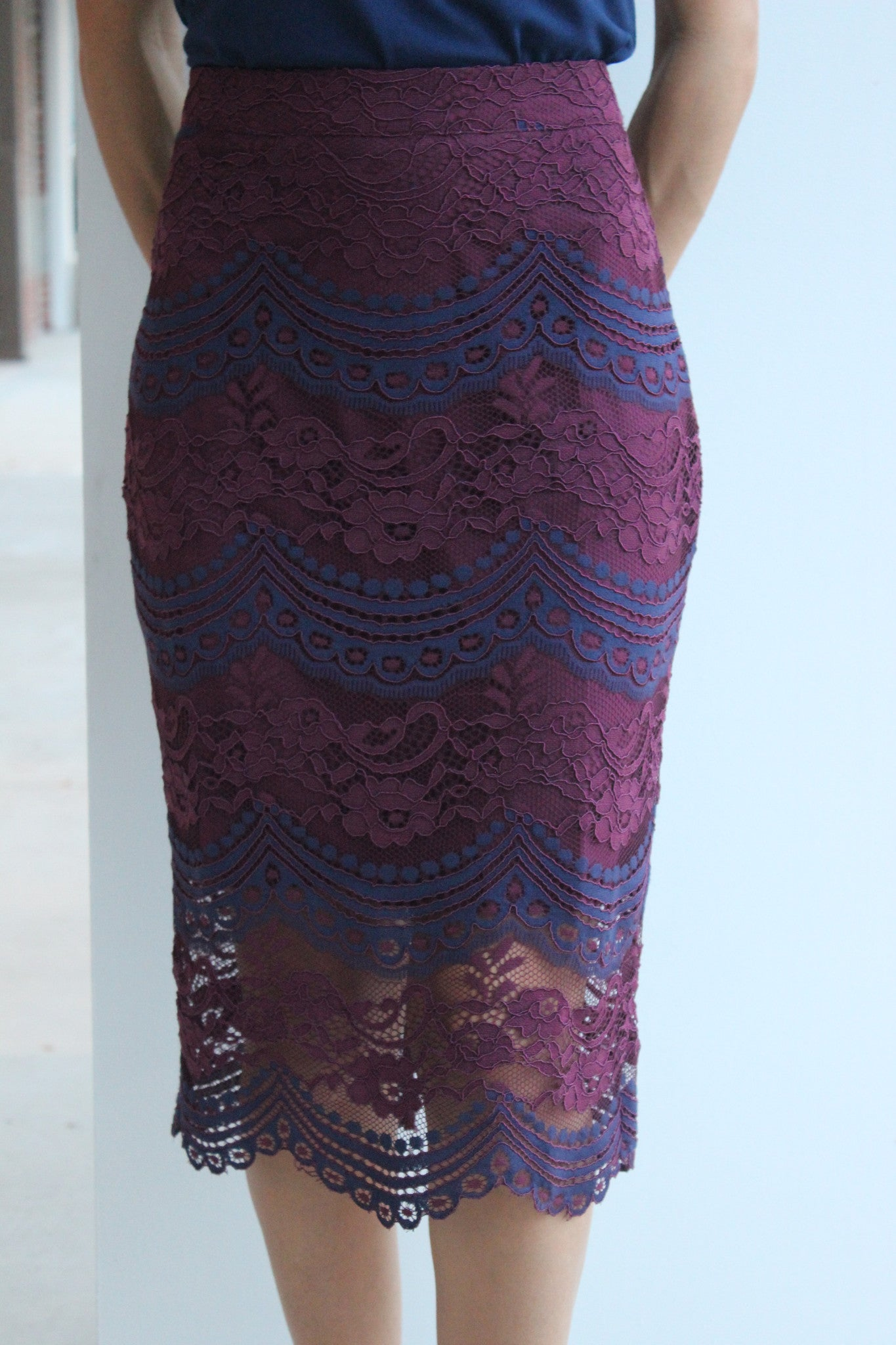 Lace Colorblock Skirt