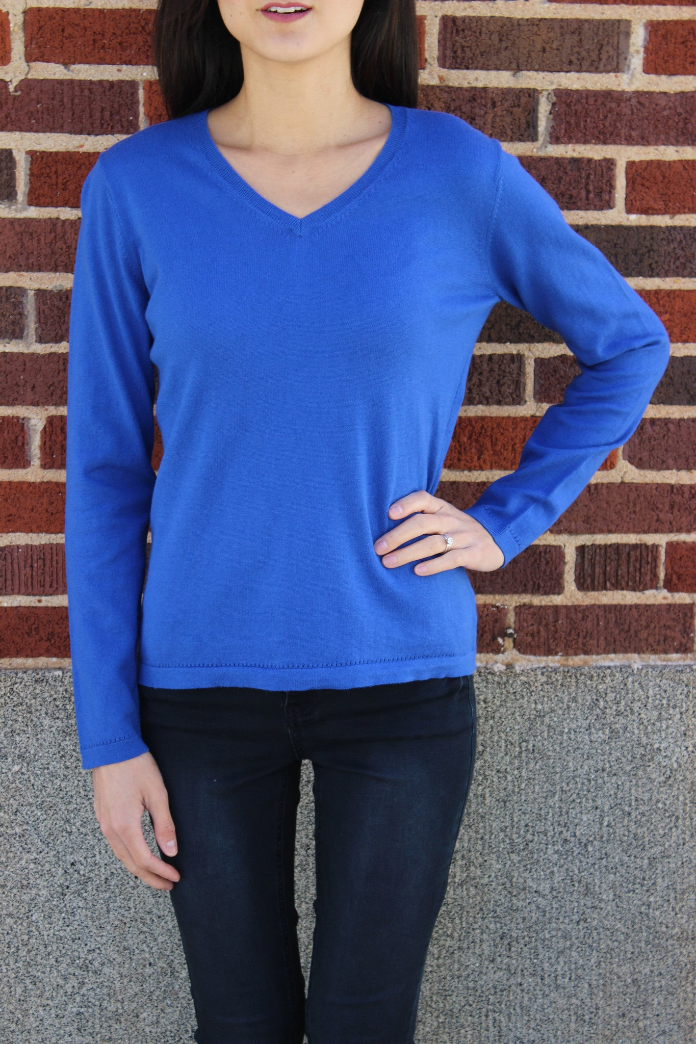 Cotton Cashmere Vneck Sweater