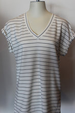 Load image into Gallery viewer, Stripe Rollsleeve Vneck Tee