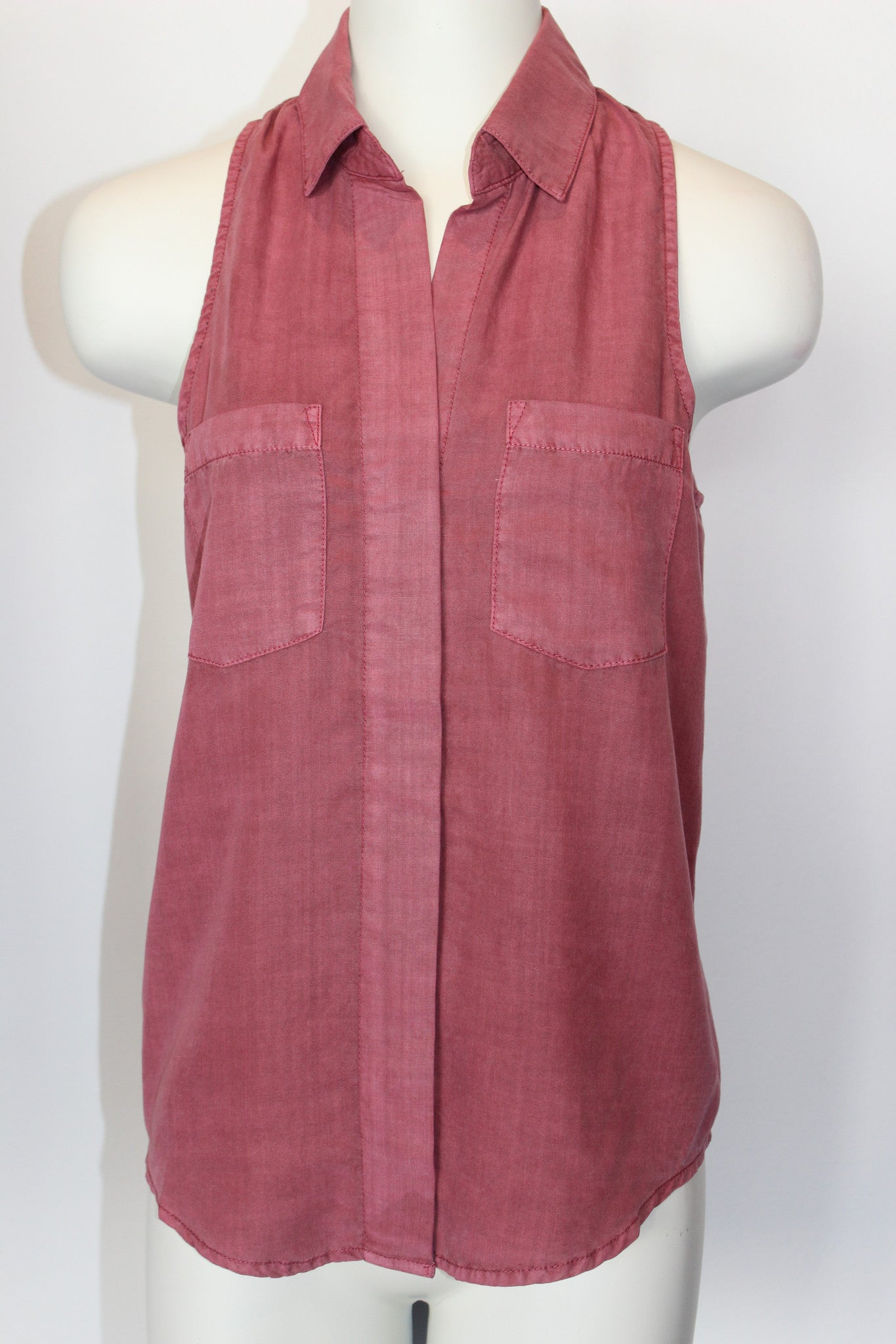 Raspberry Sleeveless Button Down