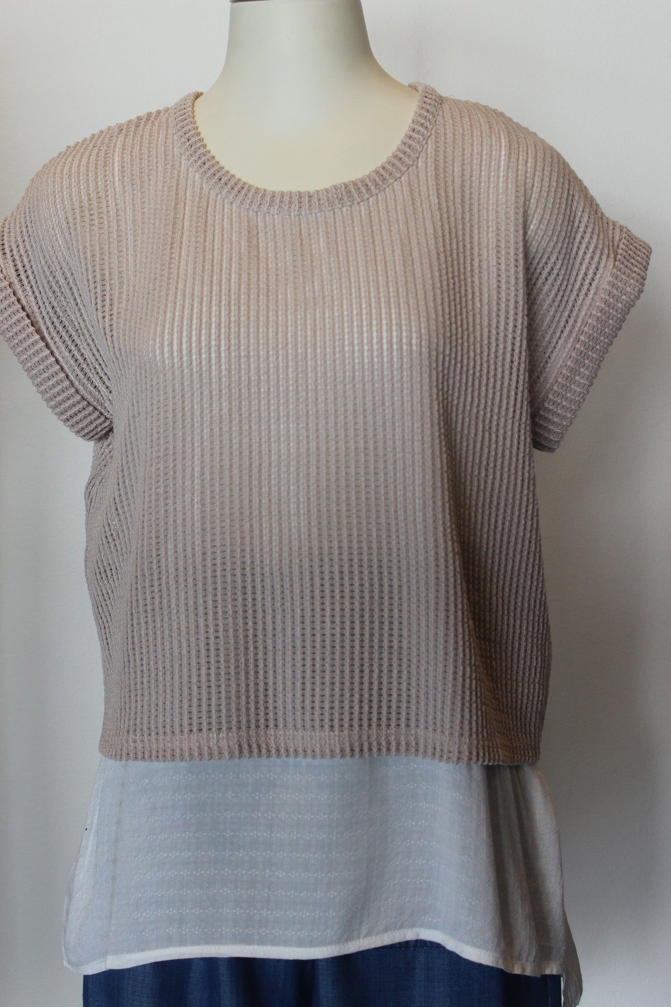 Knit Cotton Contrast Top