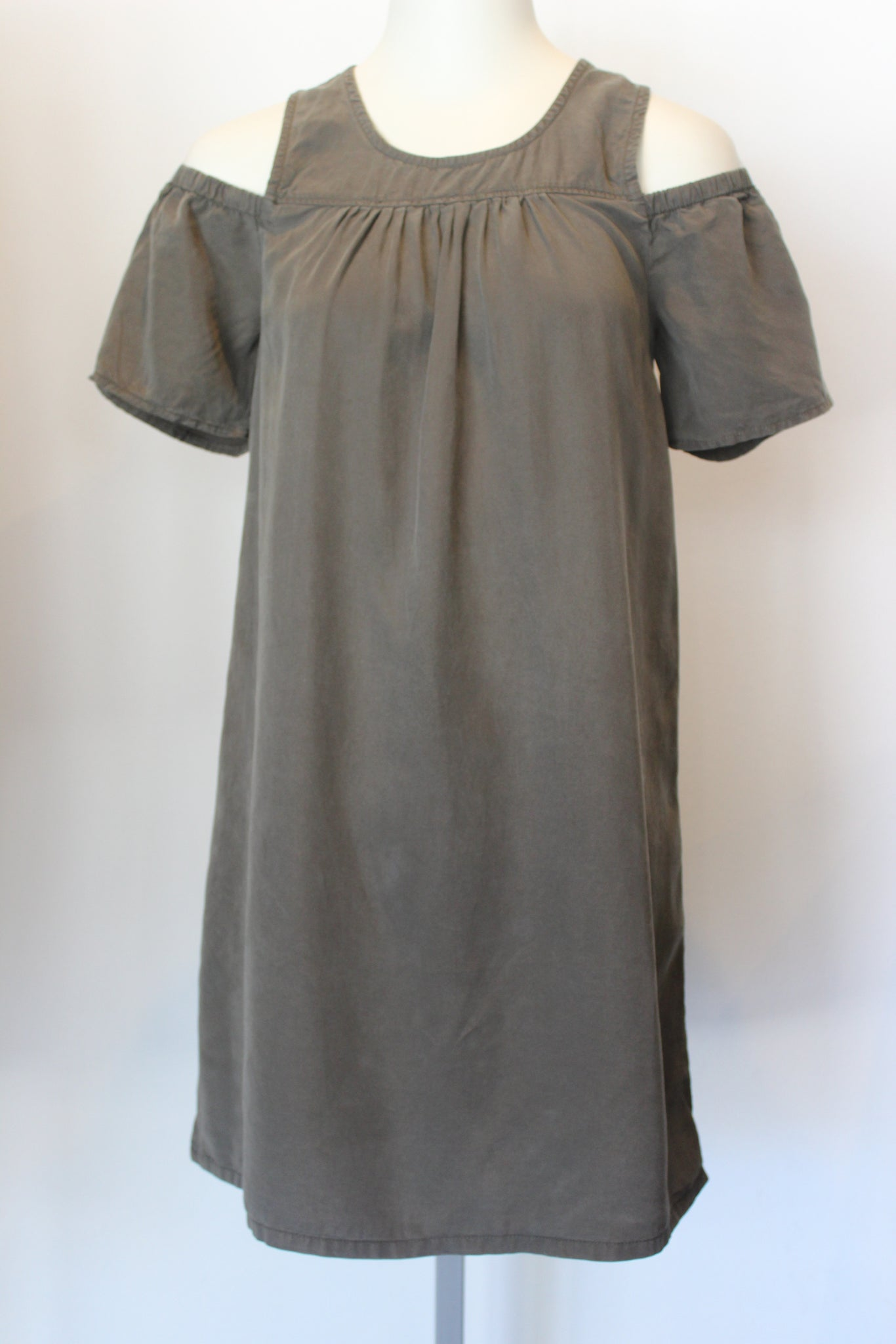 Olive Cold Shoulder Chambray Dress