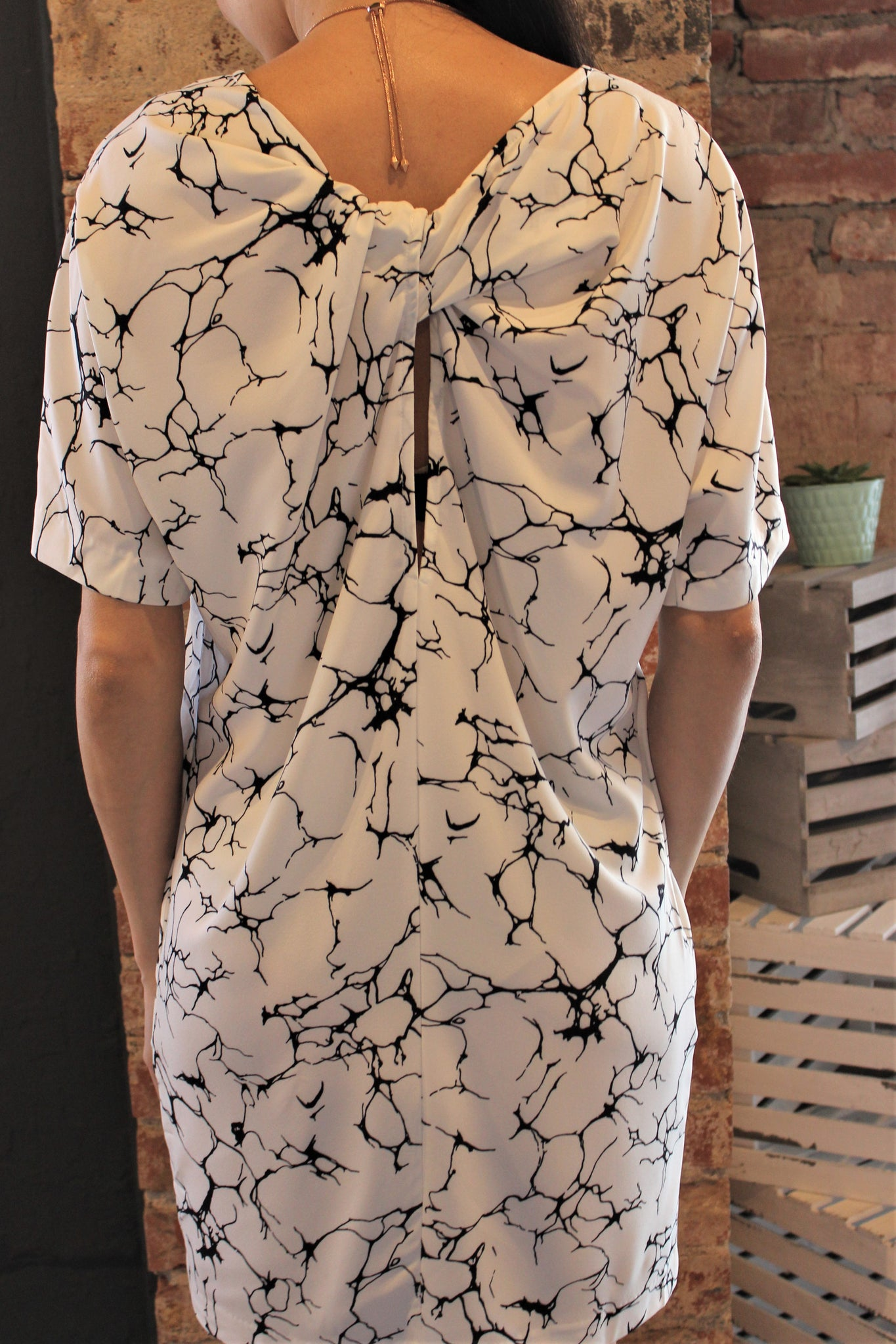 Marble Print Dress w/Pockets