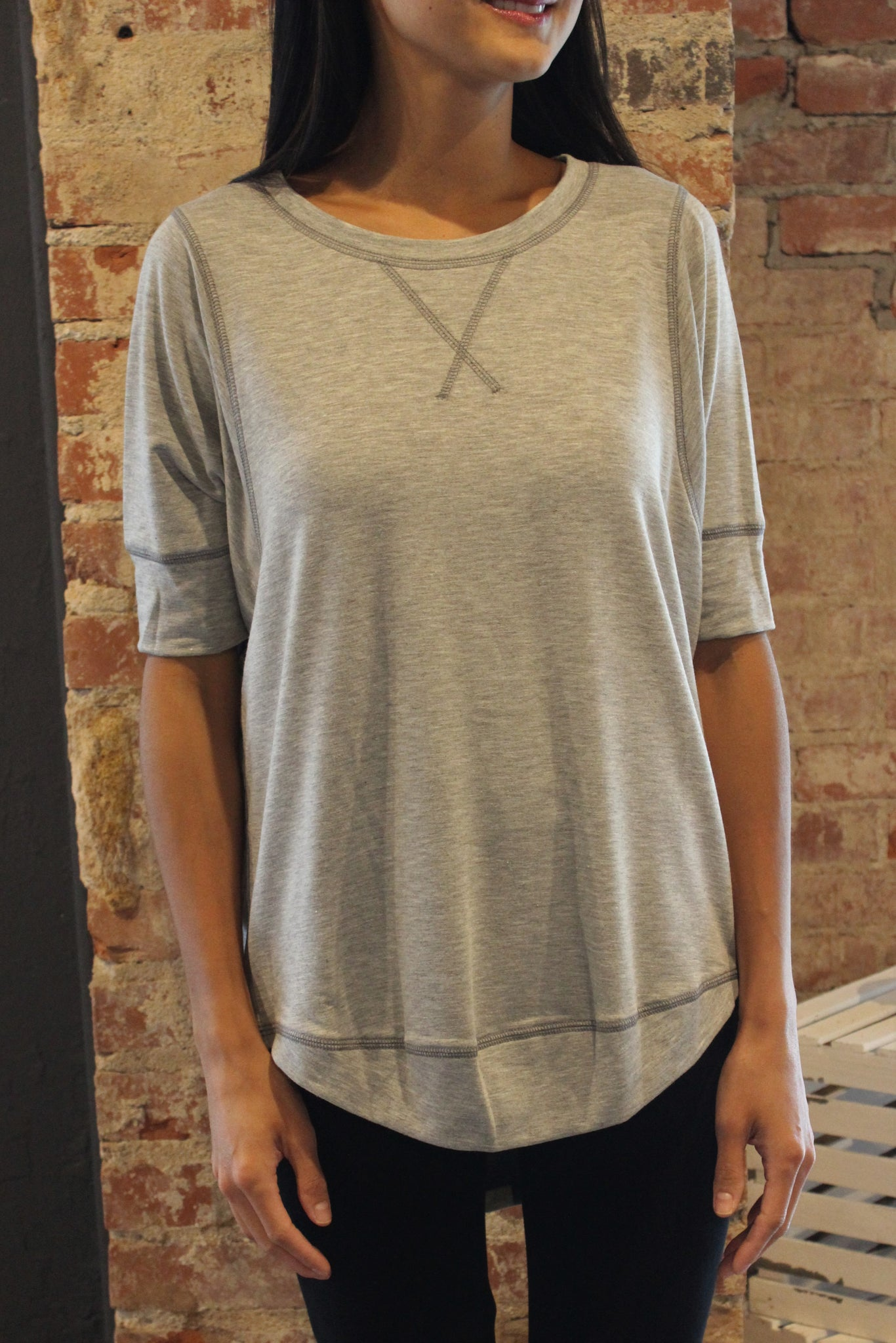 Grey French Terry Stitch Top