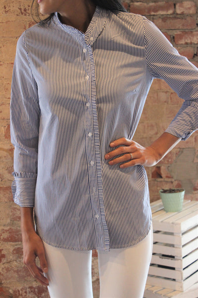 L/S Ruffled Stripe Button Down Blouse