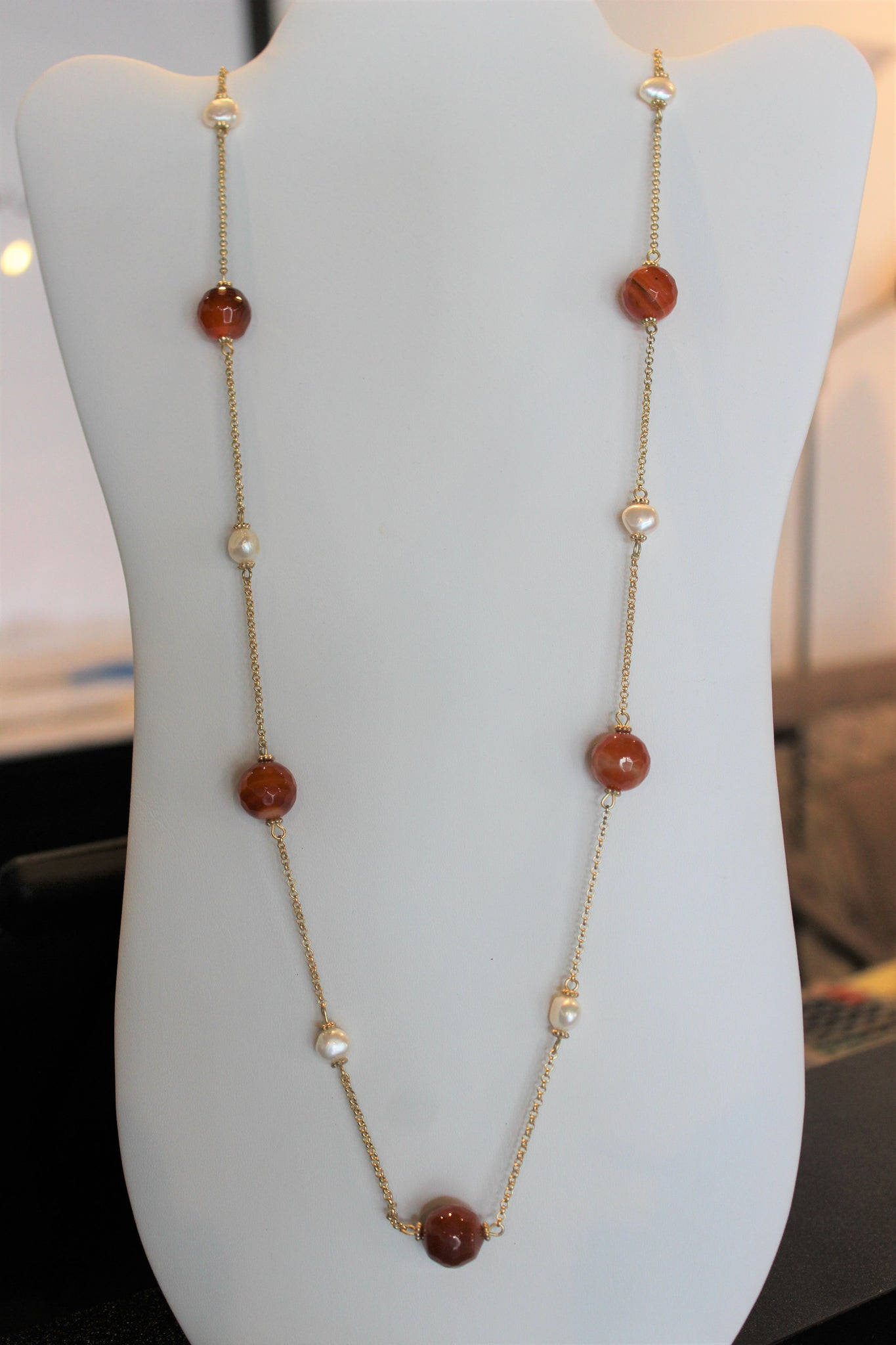 Amber Red Beaded Necklace