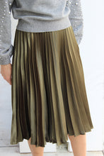 Load image into Gallery viewer, Satin Pleated Midi Skirt