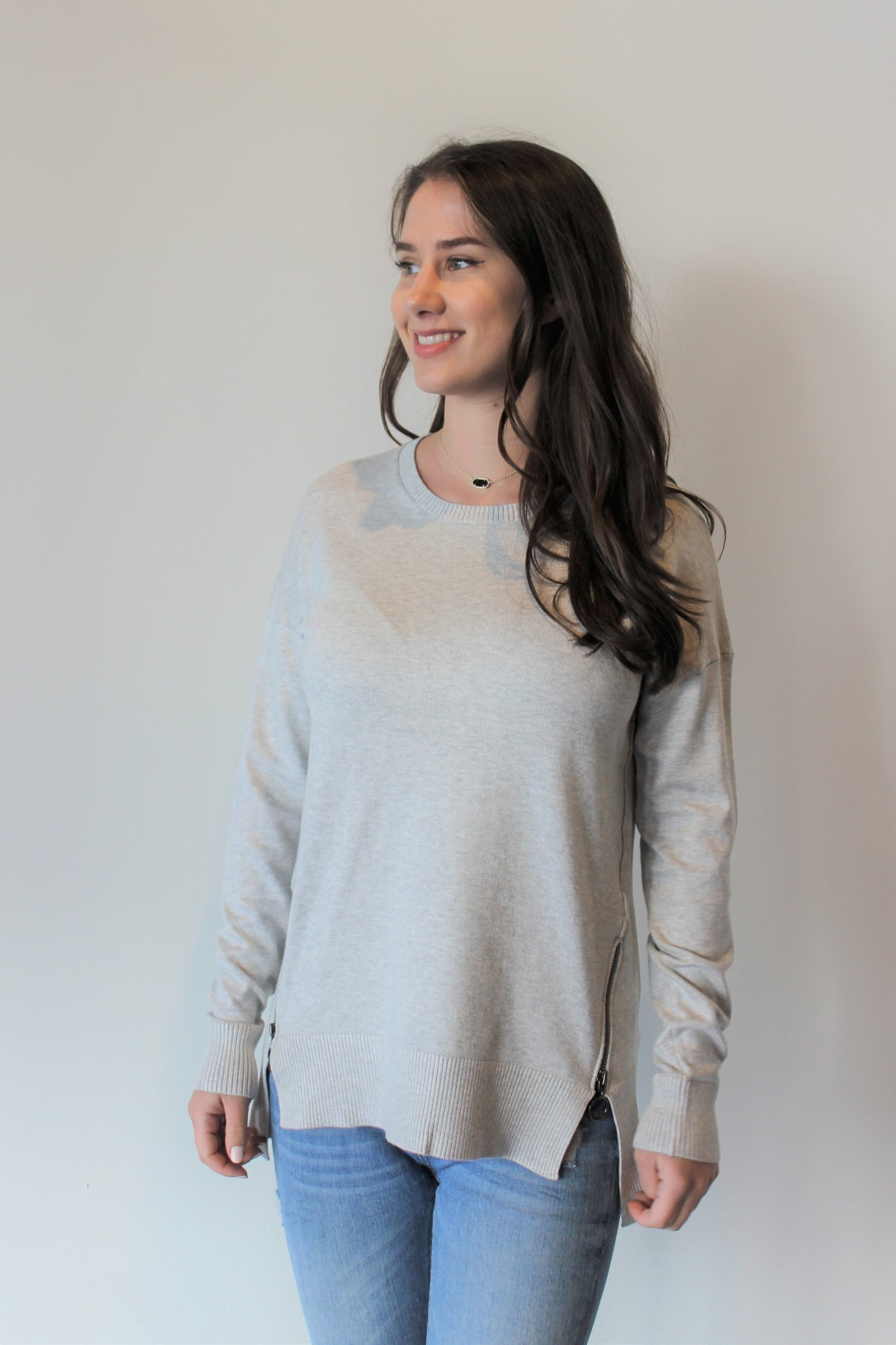 Bottom Side Zipper Scoopneck Sweater