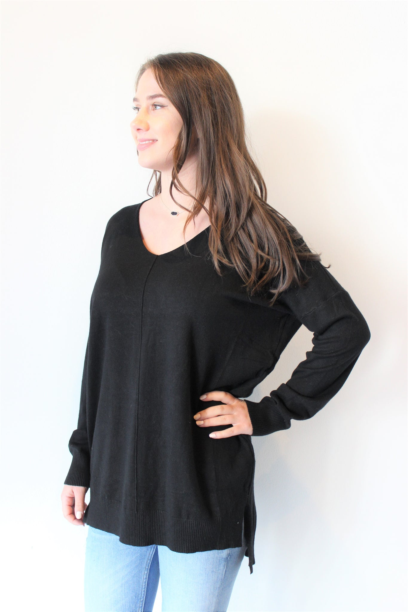 Black V-neck Sweater Tunic w/Center Seam