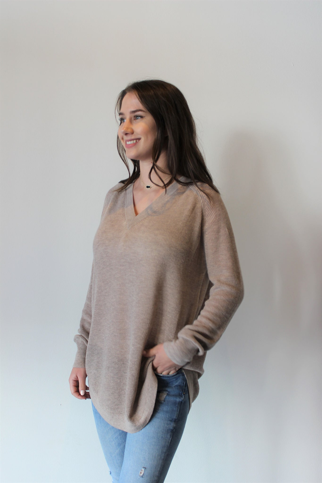 Mocha V-neck Hi/Low Tunic Sweater