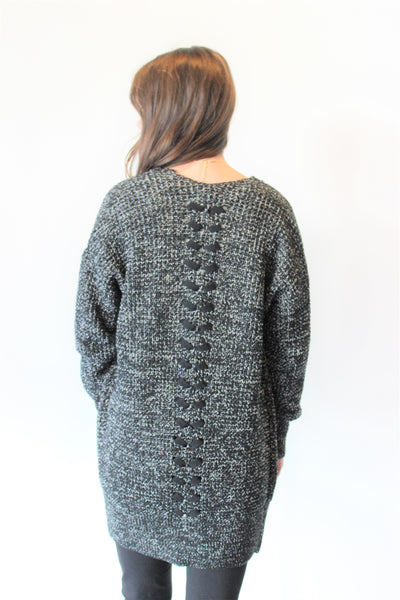 Open Cardigan with Back Braid Detail