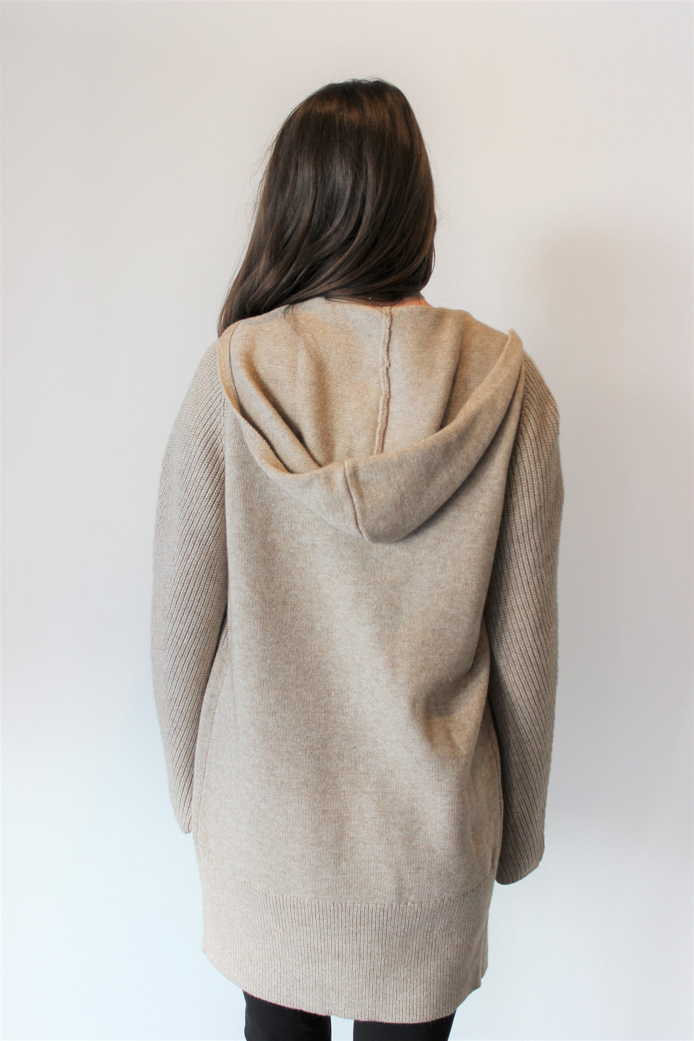 Ribbed Detail Hooded Cardigan