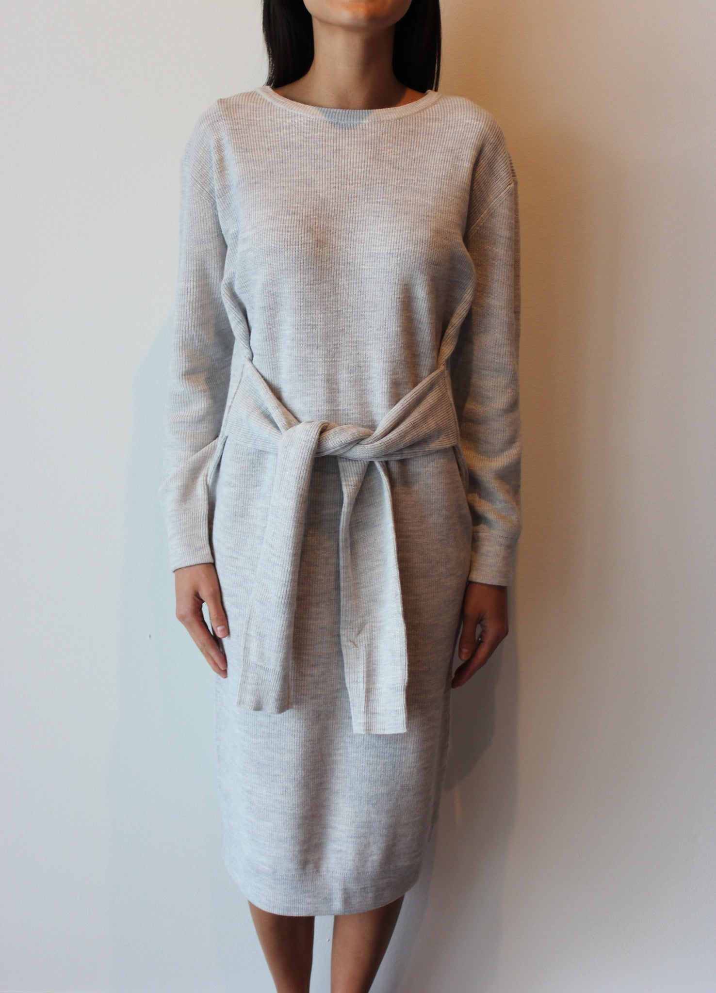 Grey Tie Knit Dress