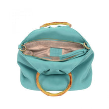 Load image into Gallery viewer, Aqua Bamboo Handle Pouf Bag