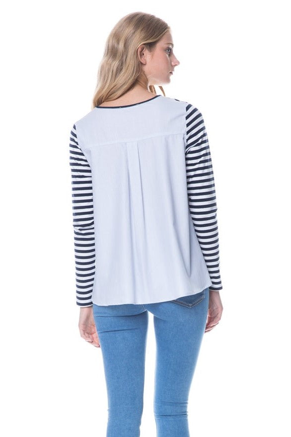 Contrast Back Stripe Top