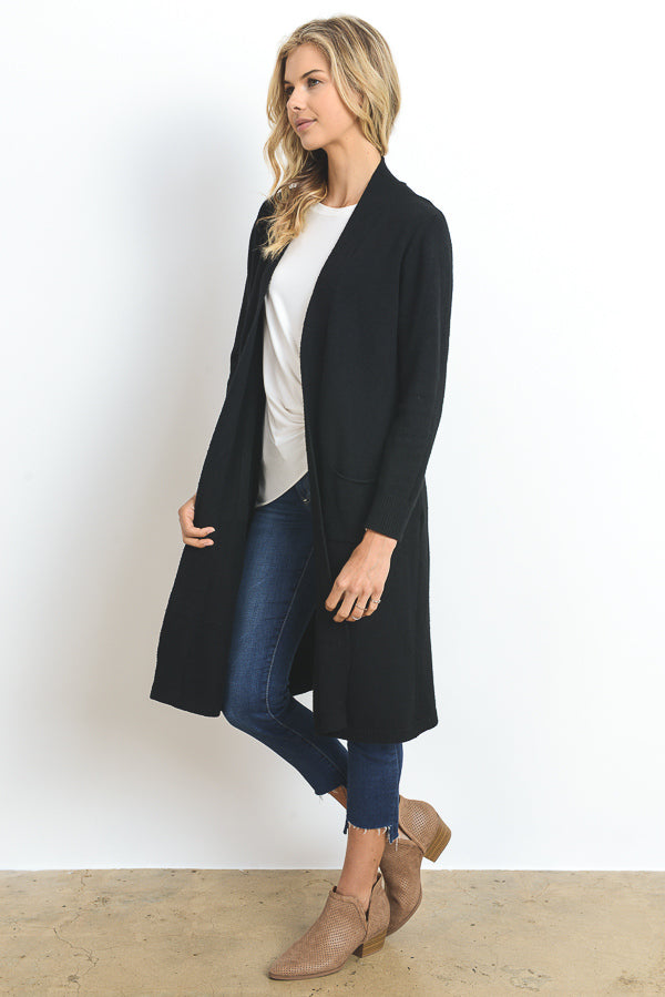 Long Open Cardigan w/Pockets
