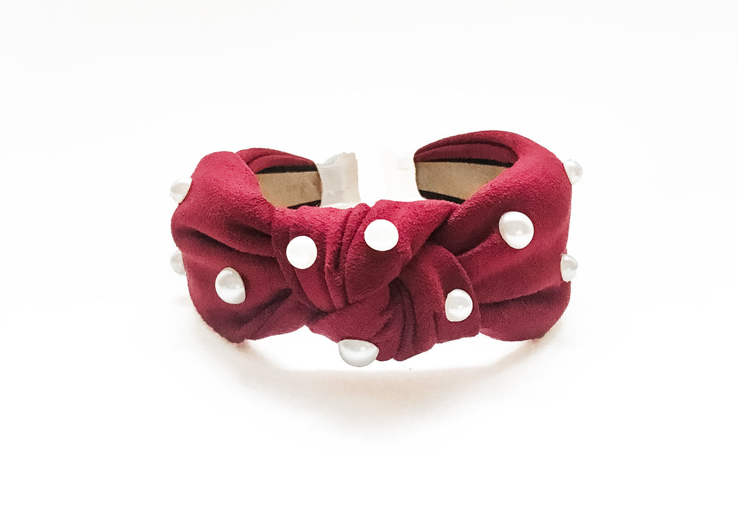 Crimson Suede Knotted Pearl Detail Headband