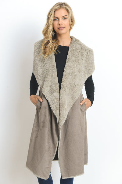 Long Faux Shearling Vest