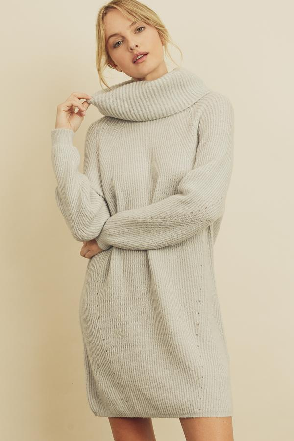 Ribbed Knit Turtleneck Sweater Dress
