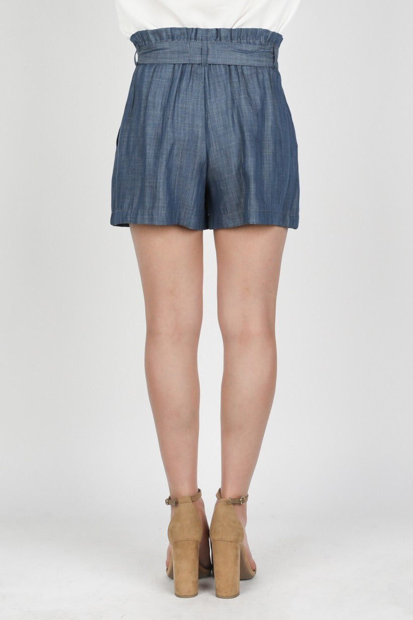 Chambray Waist Tie Shorts