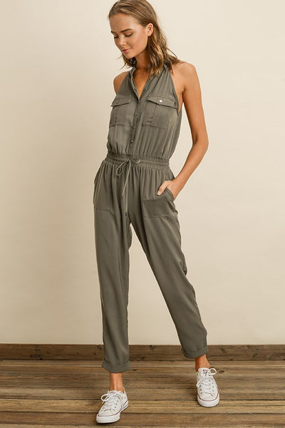 Sleeveless Utility Jumpsuit