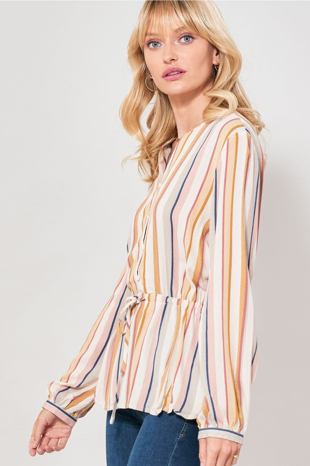 Multicolor Stripes Drawstring Waist
