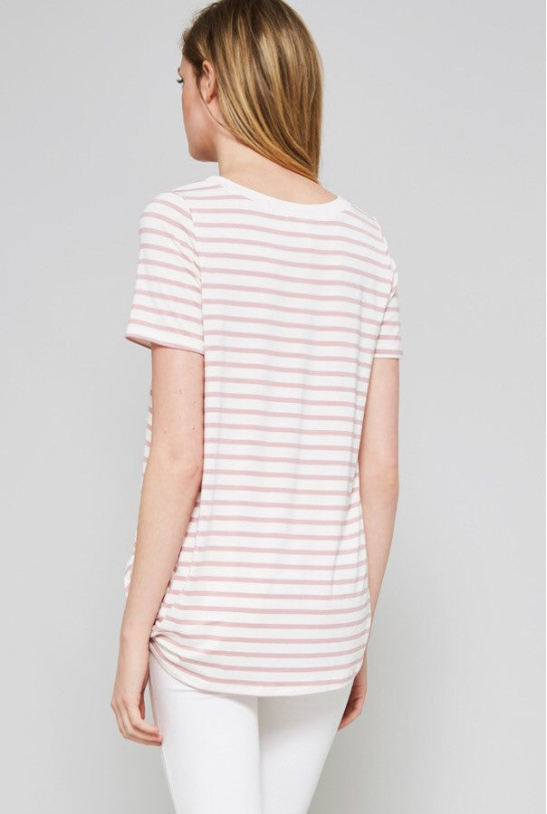Pink Stripe Knit Knotted Tee