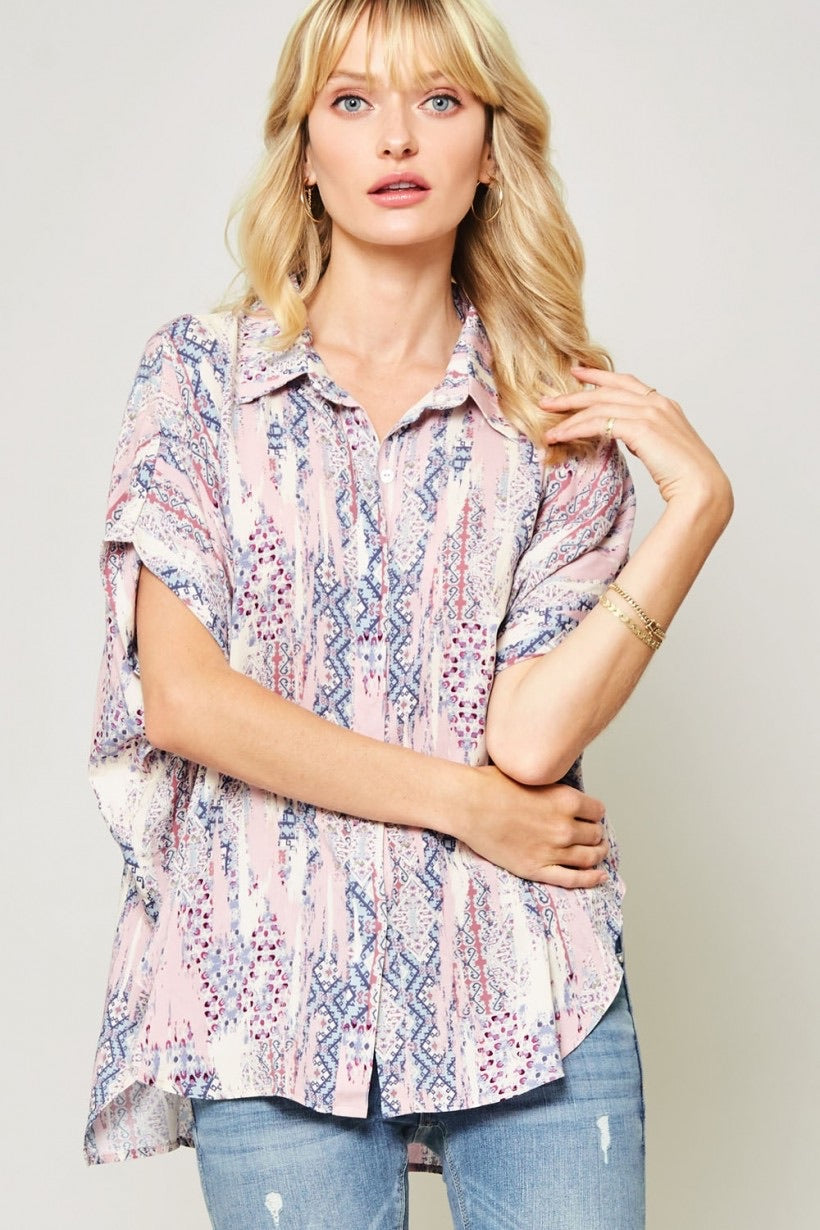 Print Dolman Button Up Blouse