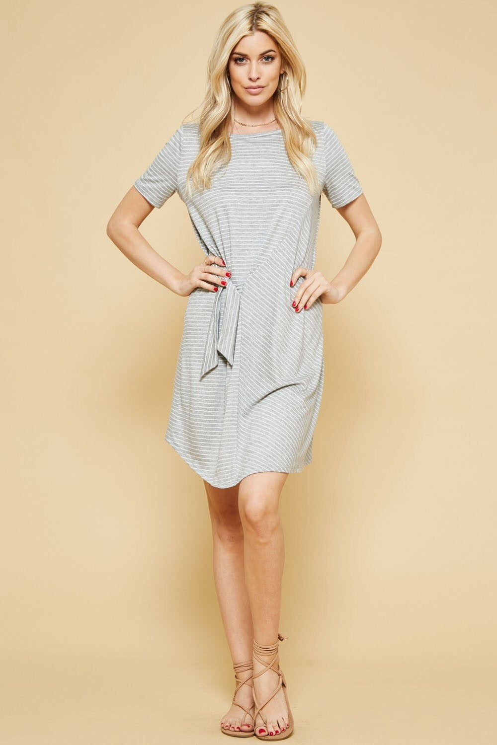 Striped Knit Side Tie Dress