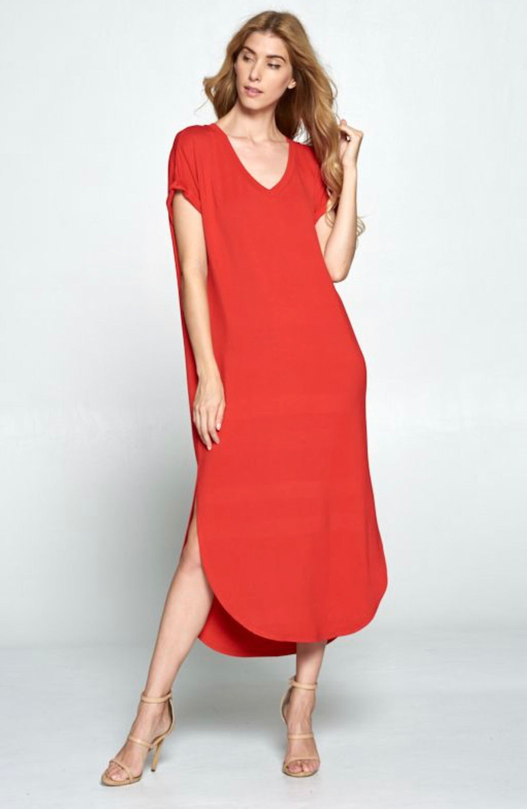 Red Everyday Butter Soft V-Neck Maxi