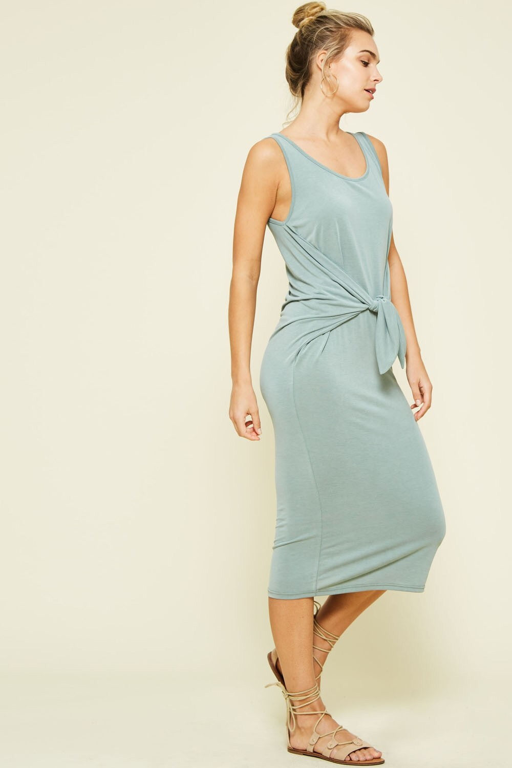 Sleeveless Front Tie Knit Dress