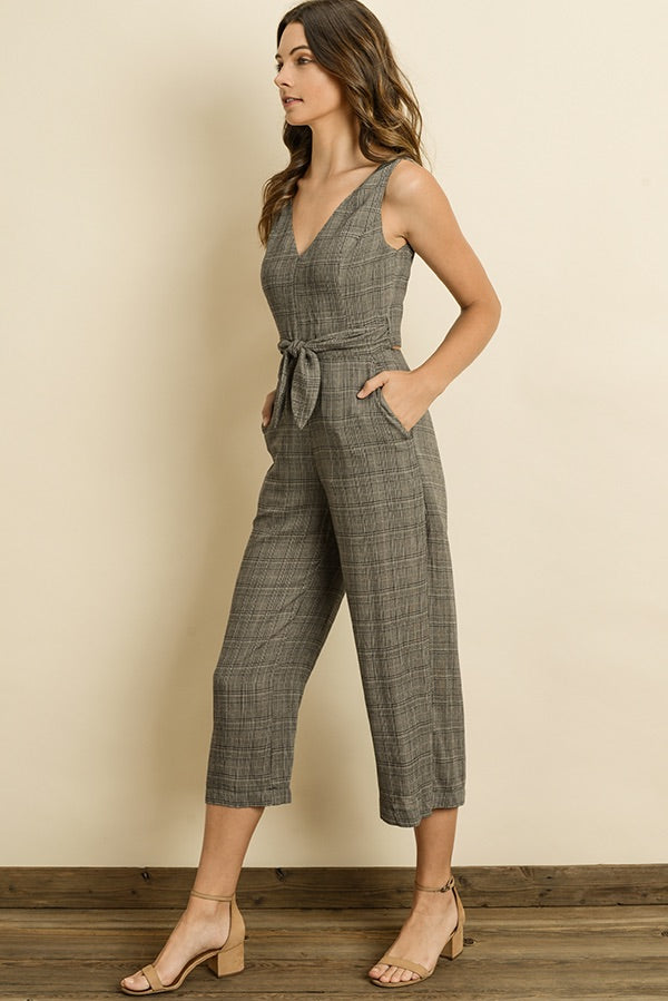 Plaid Cutout Wrap Jumpsuit