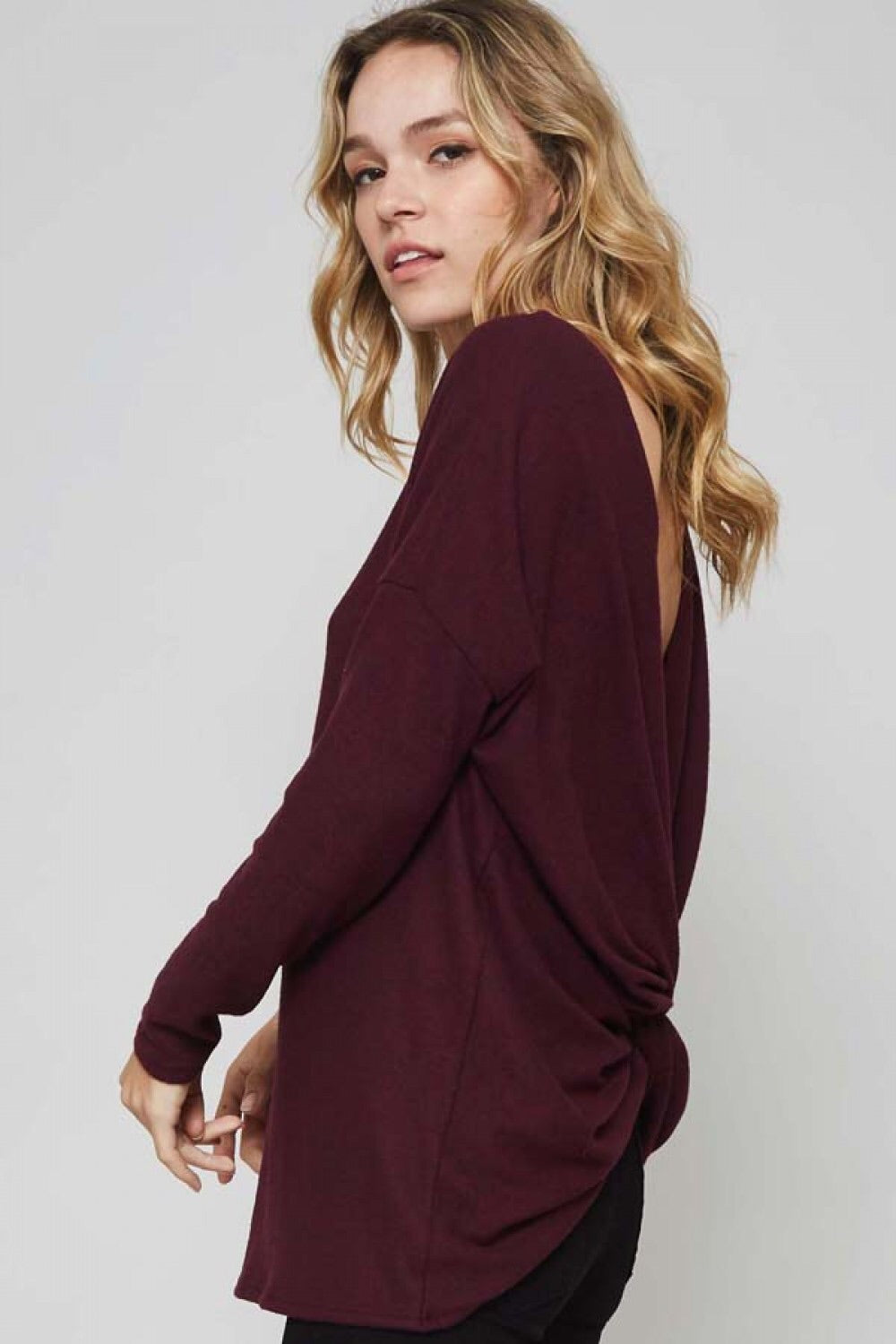 Back Knot Knit Sweater