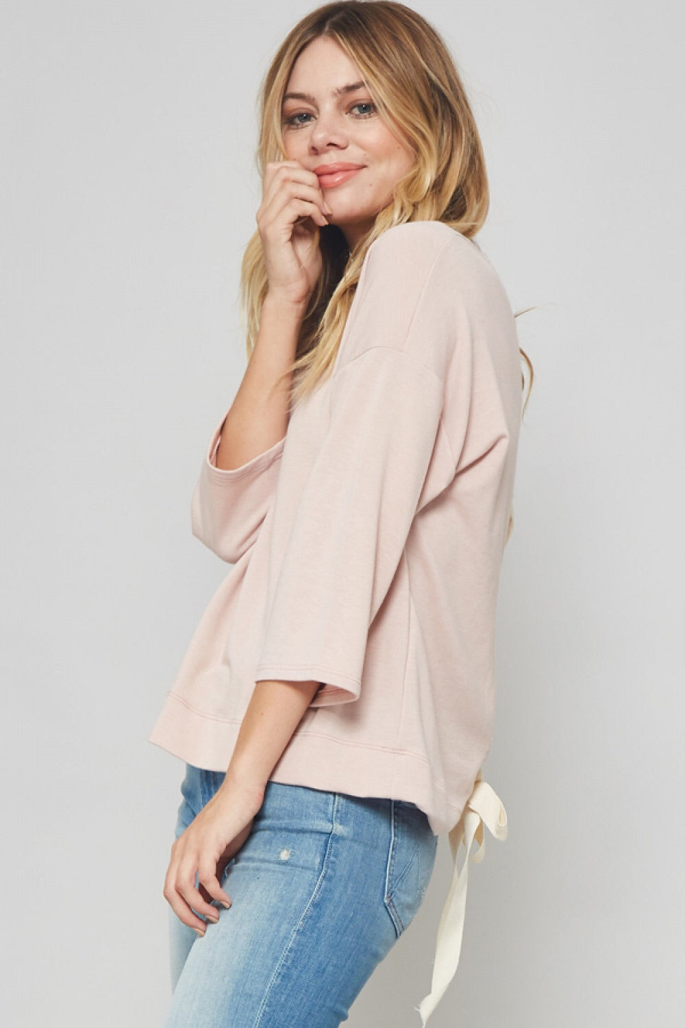 Lace Up Back Knit Top
