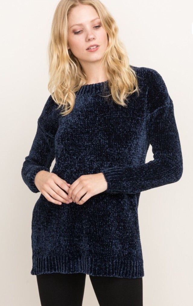 Velvet Textured Tunic Sweater