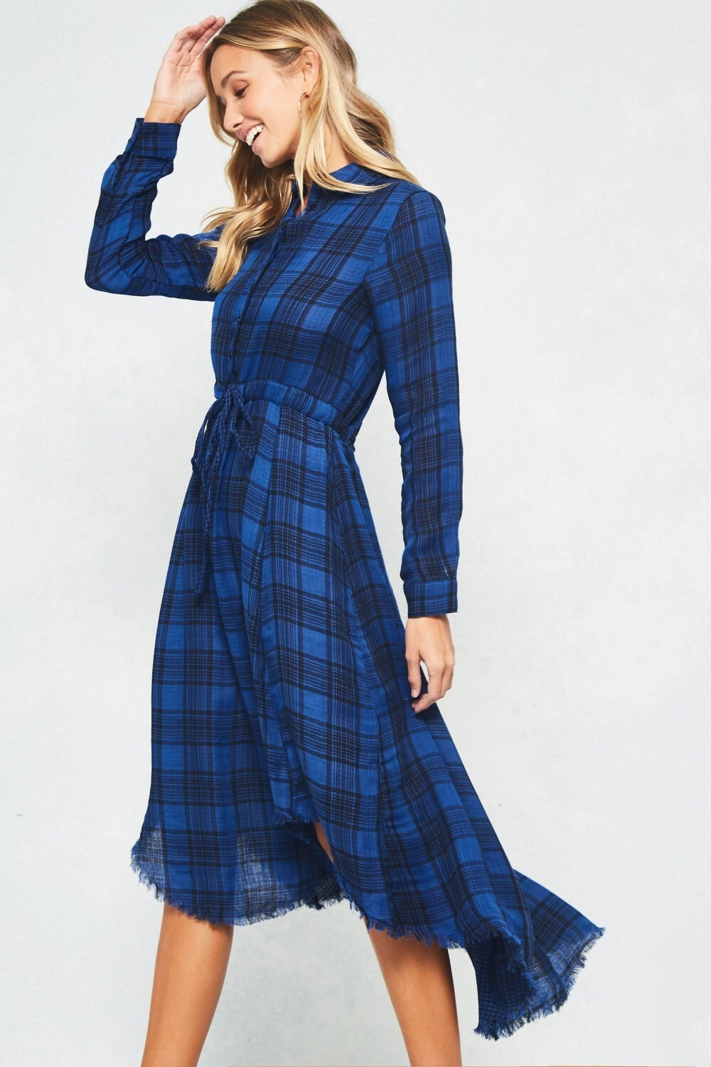 Button Up Asymmetrical Plaid Dress
