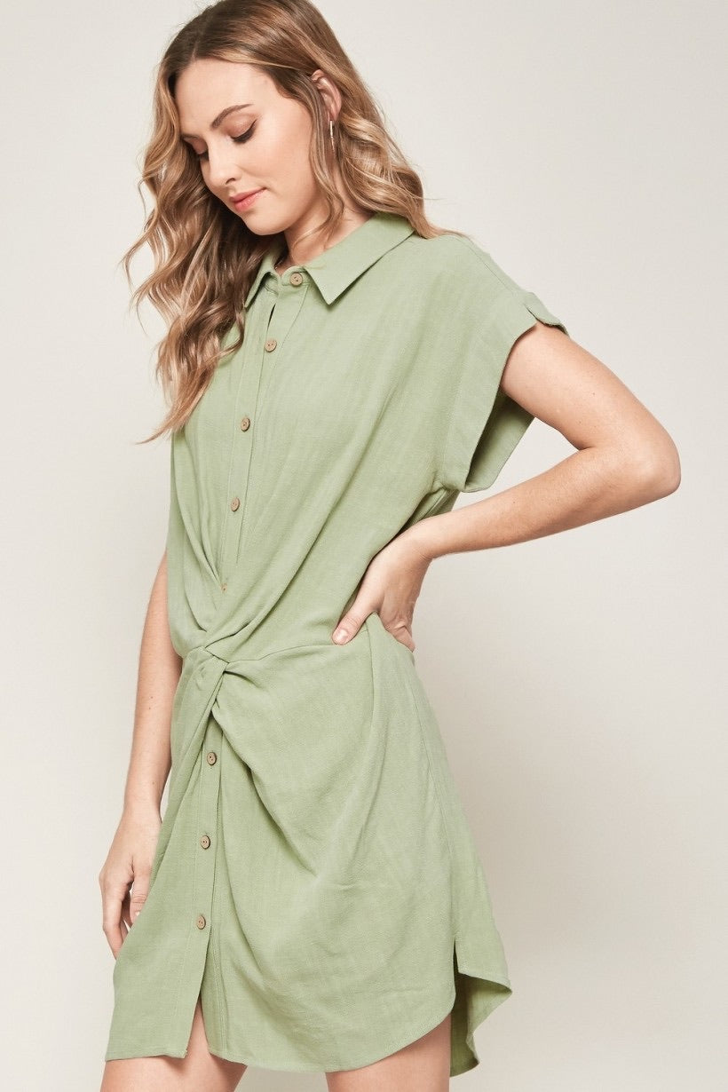 Button Up Knotted Linen Dress