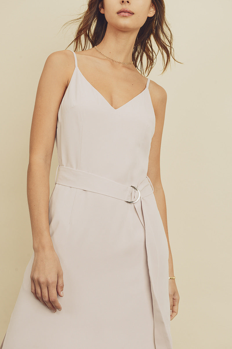 Belted Midi Slip Dress