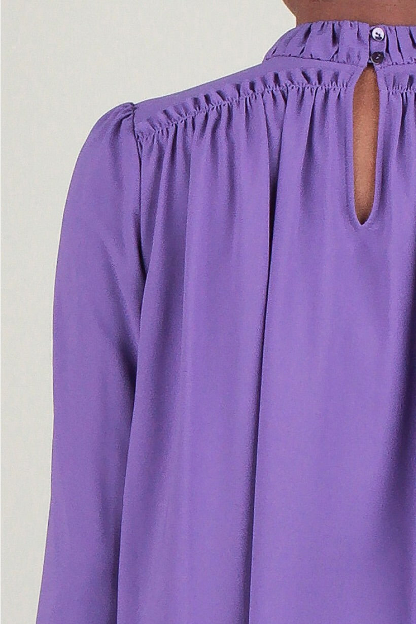 Shirred Mock Neck Blouse